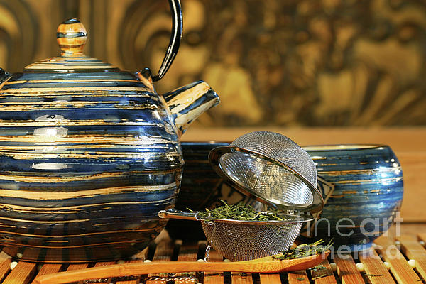 Asia Photograph - Blue Japanese Teapot by Sandra Cunningham