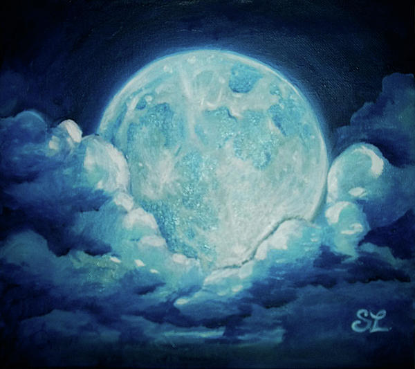 Blue Moon Painting by Sarah Lonthier
