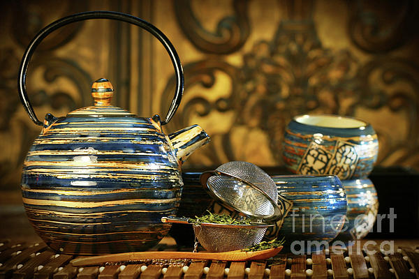 Asia Photograph - Blue Oriental Teapot With Cups  by Sandra Cunningham
