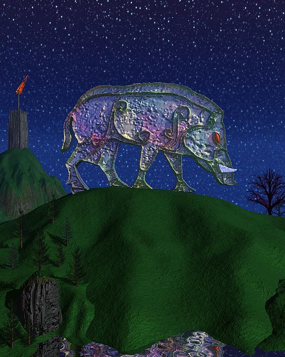 Boar Painting - Boar King by Diana Morningstar