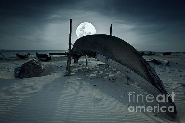 Vietnamese Photograph - Boat And Moon by MotHaiBaPhoto Prints