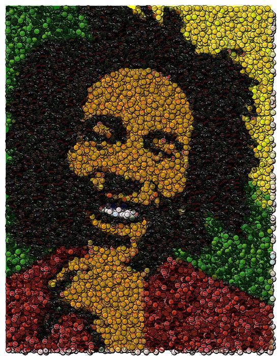 Bob Marley Digital Art - Bob Marley Bottle Cap Mosaic by Paul Van Scott