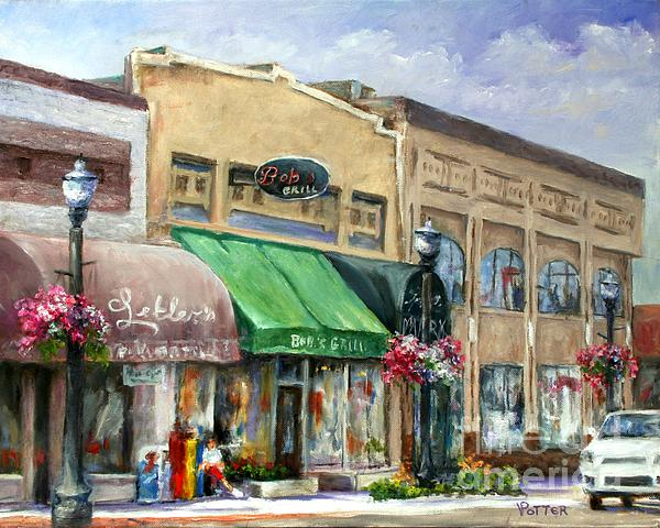 City Painting - Bobs Grill by Virginia Potter