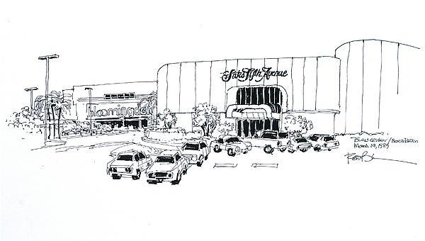 Boca Raton Town Center Mall Drawing by Robert Birkenes