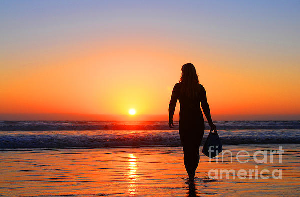 Sunset Photograph - Bodysurfer At Dusk by Sabino Cruz