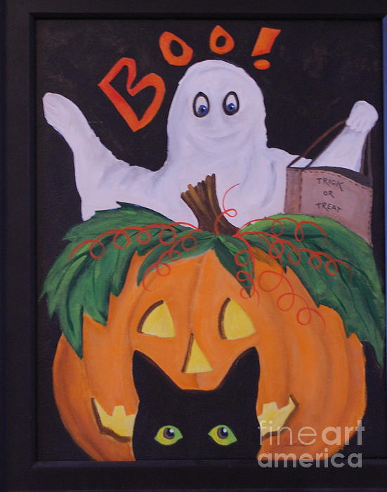White Ghost Painting - Boo-happy Halloween by Janna Columbus
