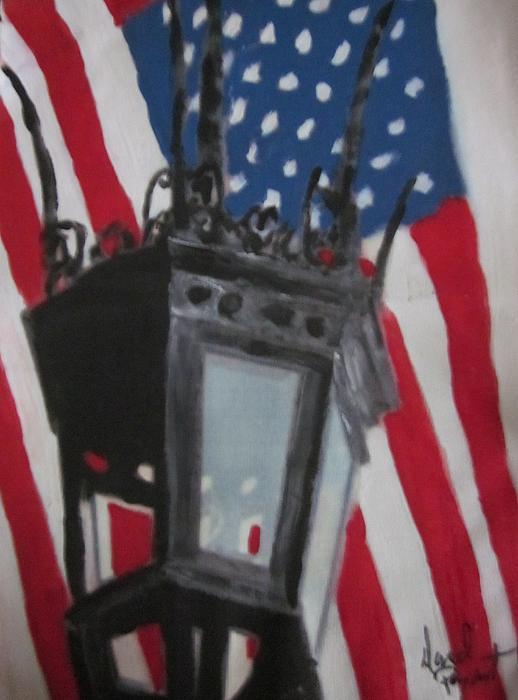 Boston Painting - Boston Lightpost by David Poyant