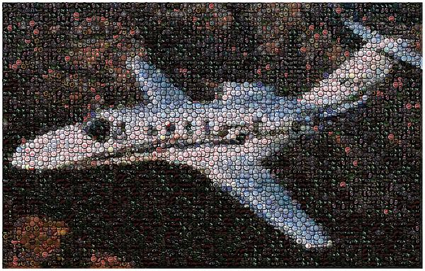 Jet Mixed Media - Bottle Cap Cessna Citation Mosaic by Paul Van Scott