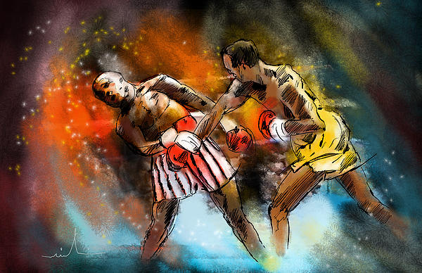 Sports Painting - Boxing 01 by Miki De Goodaboom