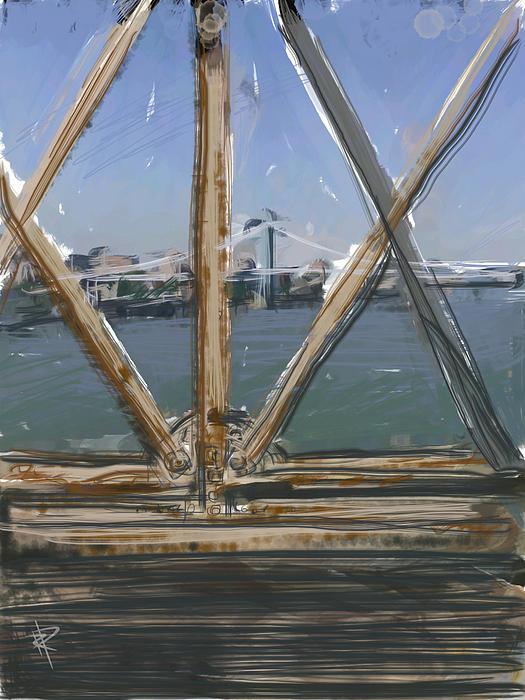 Manhattan Bridge Mixed Media - Bridge View by Russell Pierce