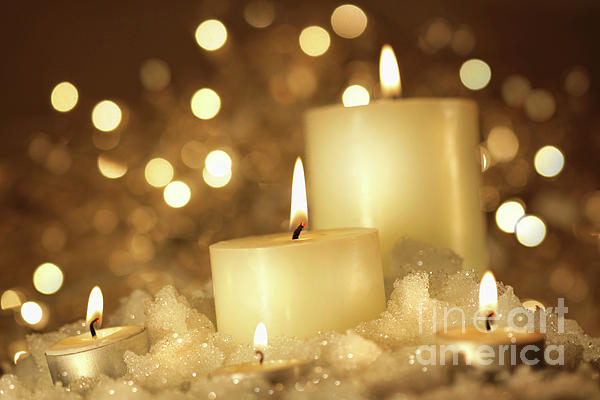 Background Photograph - Brightly Lit Candles In Wet Snow by Sandra Cunningham