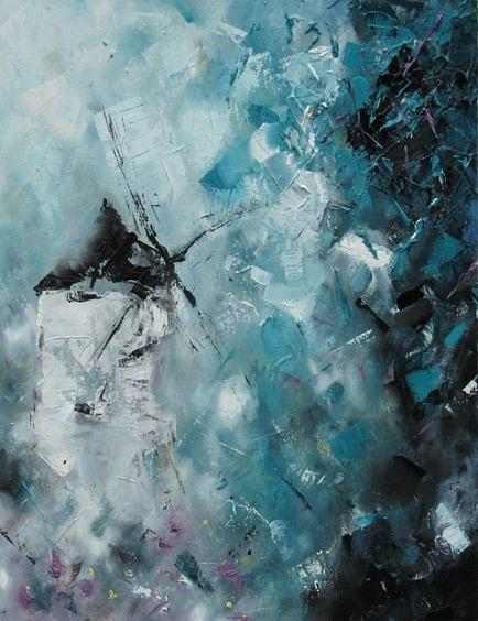 Abstract Windmill. Painting - Broken Windmill. by Cima Azimi