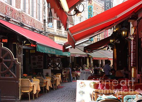 European Cafe Photograph - Brussels Restaurant Street - Rue De Bouchers by Carol Groenen