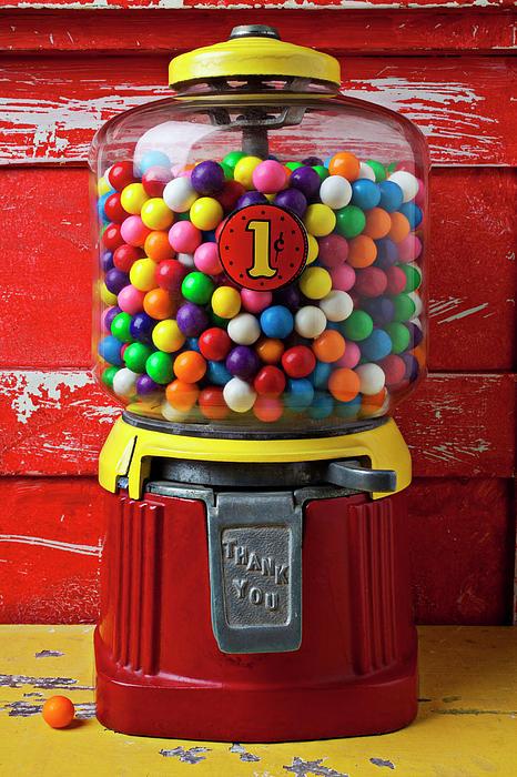 Candy Photograph - Bubblegum Machine And Gum by Garry Gay