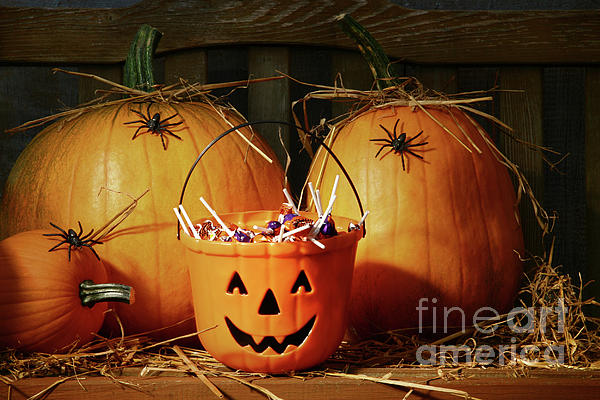 Agriculture Photograph - Bucket Filled With Halloween Candy by Sandra Cunningham