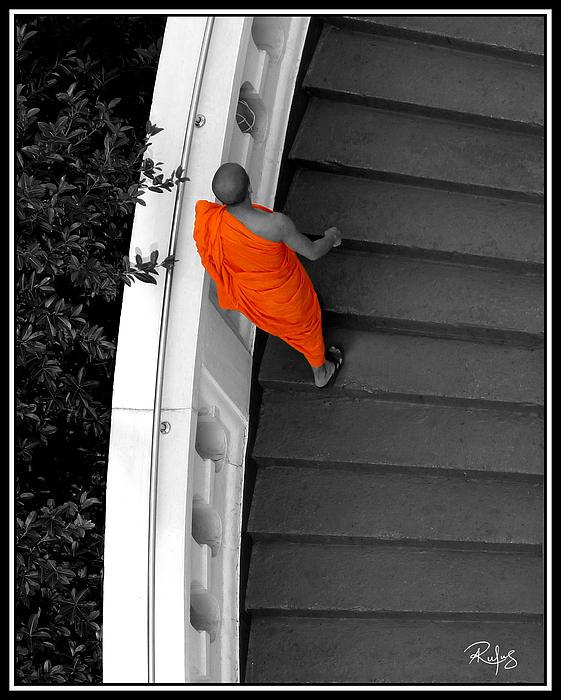 Allan Rufus Photograph - Buddhist Monks Climb Up The Golden Mountain by Allan Rufus