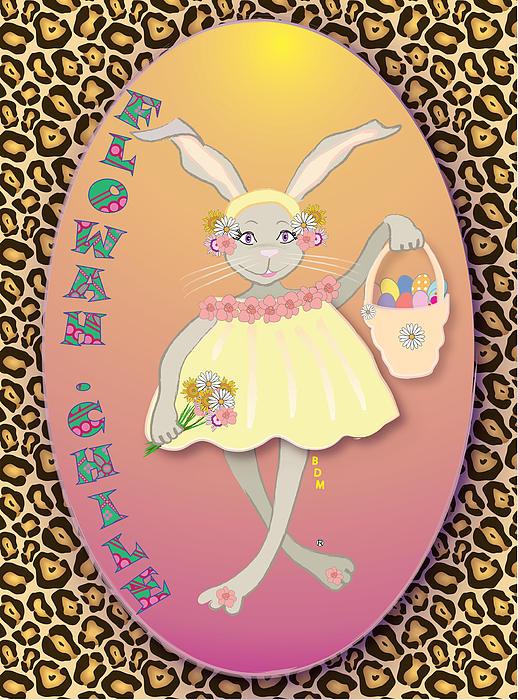 Bunnie Digital Art - Bunnie Girls- Flowah Chile 1 Of 4  by Brenda Dulan Moore