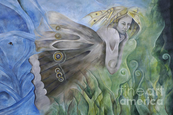 Mural Photograph - Butterfly Woman Costa Rica by Bob Christopher