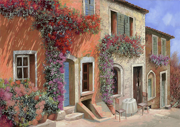 Caffe Painting - Caffe Sulla Discesa by Guido Borelli