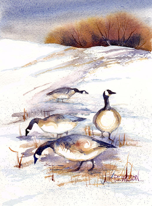 Geese Painting - Canada Geese In Stubble Field by Peggy Wilson