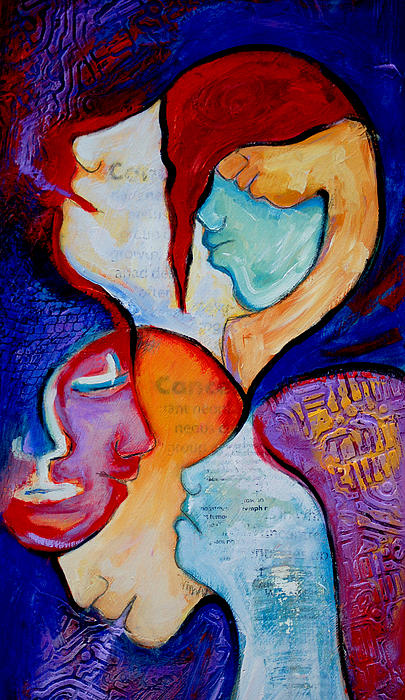 Cancer Painting - Cancer 7 Faces Of Grieving by Claudia Fuenzalida Johns