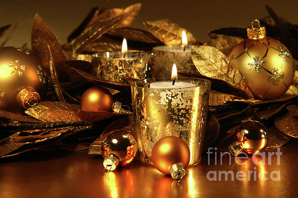 Background Photograph - Candles Light In Sparkling Gold  by Sandra Cunningham