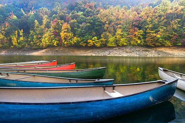 Appalachia Photograph - Canoes At Fontana by Debra and Dave Vanderlaan