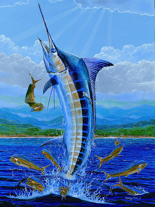 Marlin Painting - Caribbean Blue by Carey Chen