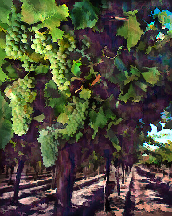 Wine Painting - Cascading Grapes by Elaine Plesser
