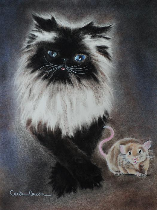 Cat Drawing - Cat N Mouse Say Cheeeeeeese by Carla Carson