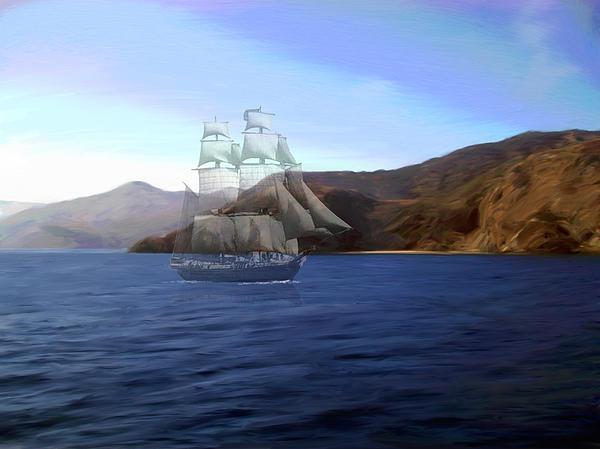 Ghost Ship Digital Art - Catalina Shoreline Ghost Ship by Snake Jagger