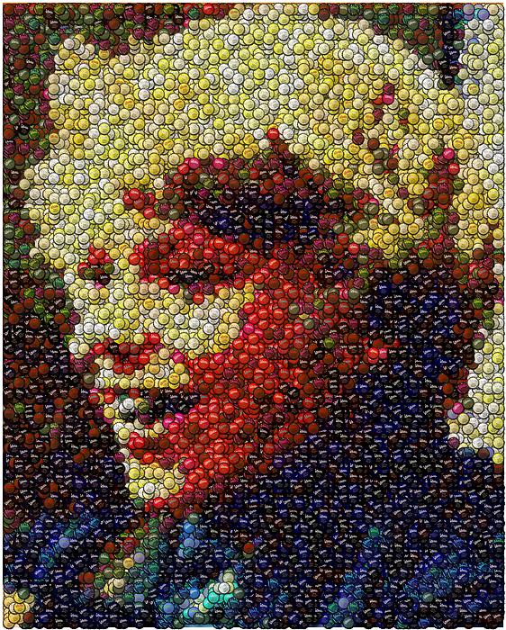 Willy Wonka Digital Art - Charlie Buckets Fizzy Lifting Drinks  Bottle Cap Mosaic by Paul Van Scott