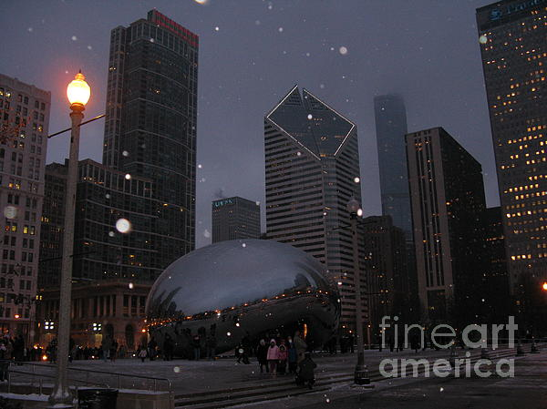 Chicago Photograph - Chicago Cloud Gate At Night by Ausra Huntington nee Paulauskaite
