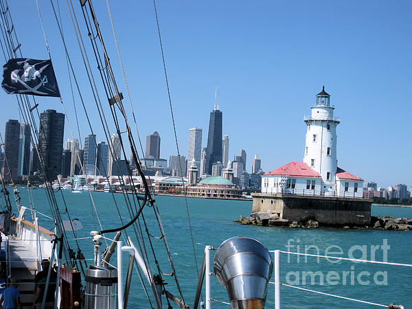Chicago Pyrography - Chicago Harbor Lighthouse by Sonia Flores Ruiz