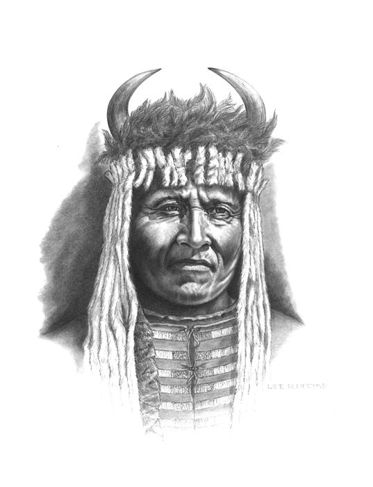 Big Face Drawing - Chief Big Face by Lee Updike