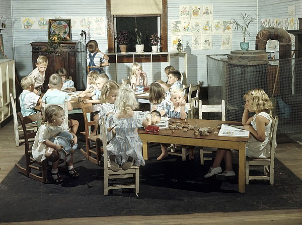 Indoors Photograph - Children Play In A Day Nursery by J Baylor Roberts