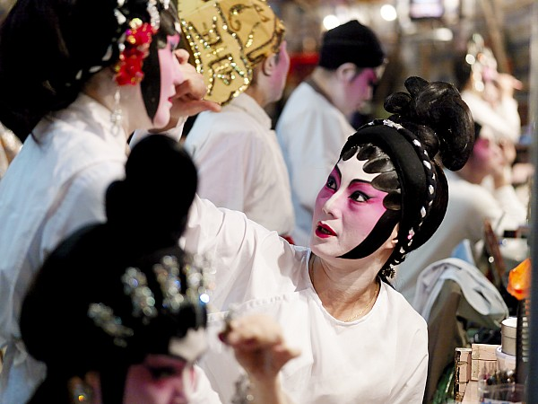 Indoors Photograph - Chinese Opera Performers Prepare by Justin Guariglia