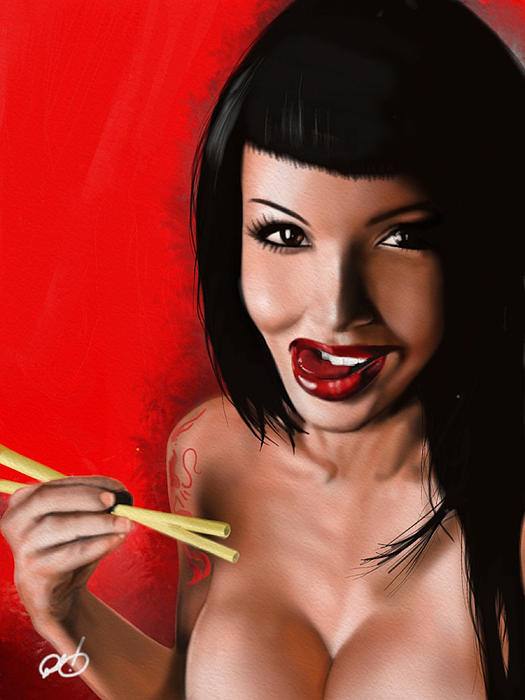 Pete Painting - Chopsticks by Pete Tapang