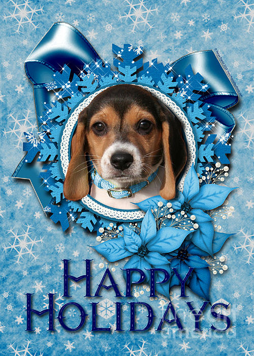 Beagle Digital Art - Christmas - Blue Snowflakes Beagle Puppy by Renae Laughner