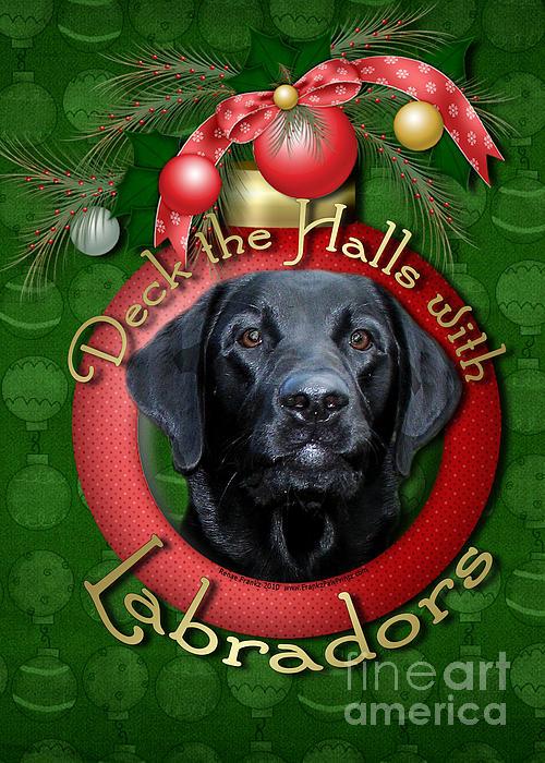 Labrador Retriever Digital Art - Christmas - Deck The Halls With Labradors by Renae Laughner