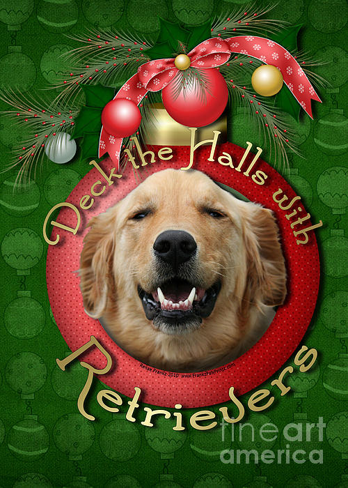 Golden Retriever Digital Art - Christmas - Deck The Halls With Retrievers by Renae Laughner