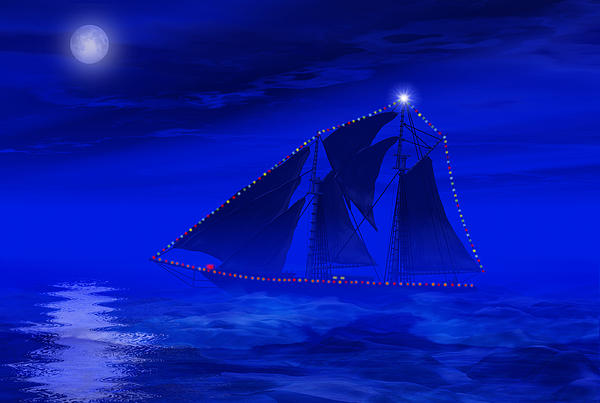 Christmas Digital Art - Christmas At Sea by Carol and Mike Werner