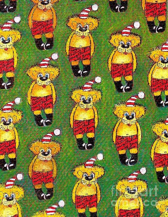Christmas Painting - Christmas Teddy Bears by Genevieve Esson