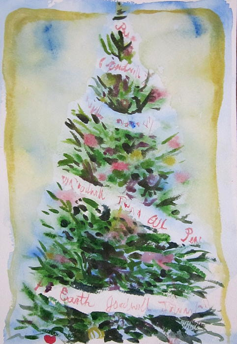 Tree Painting - Christmas Tree by Tilly Strauss