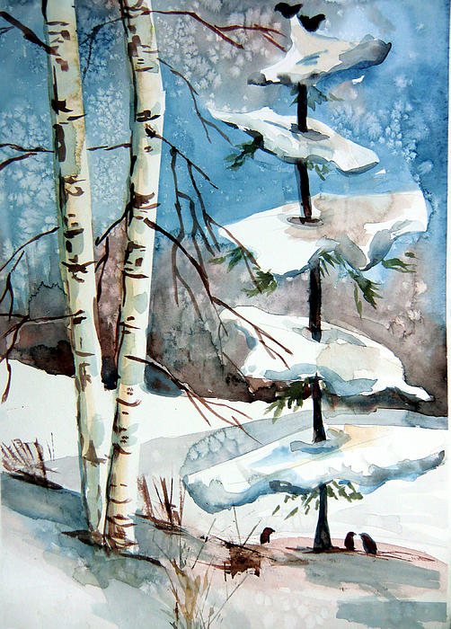 Christmas Painting - Christmas Twitters by Mindy Newman