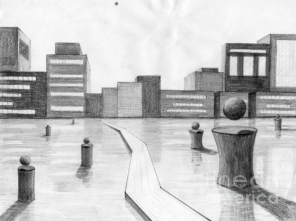 Abstract Drawing - City Scene by Alyssa Barilar
