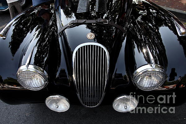 Transportation Photograph - Classic Black Jaguar . 40d9322 by Wingsdomain Art and Photography