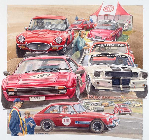 Classic Cars Painting - Classic Car Racing 06 by John  Archbold