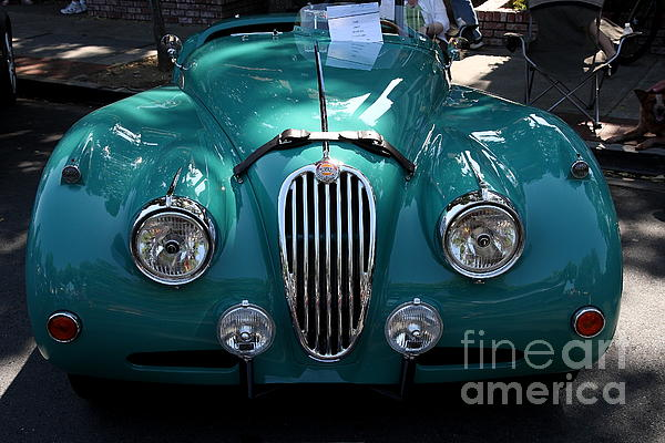 Transportation Photograph - Classic Green Jaguar . 40d9411 by Wingsdomain Art and Photography