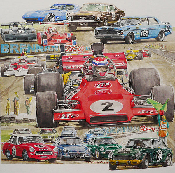 Water Colour Painting - classic Racing 07 by John  Archbold